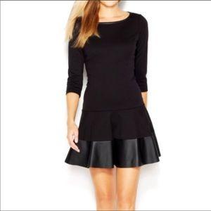 Jessica Simpson drop waist leather trim dress